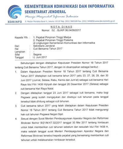 Portal Intranet Kominfo Nota Dinas Sekretaris Jenderal